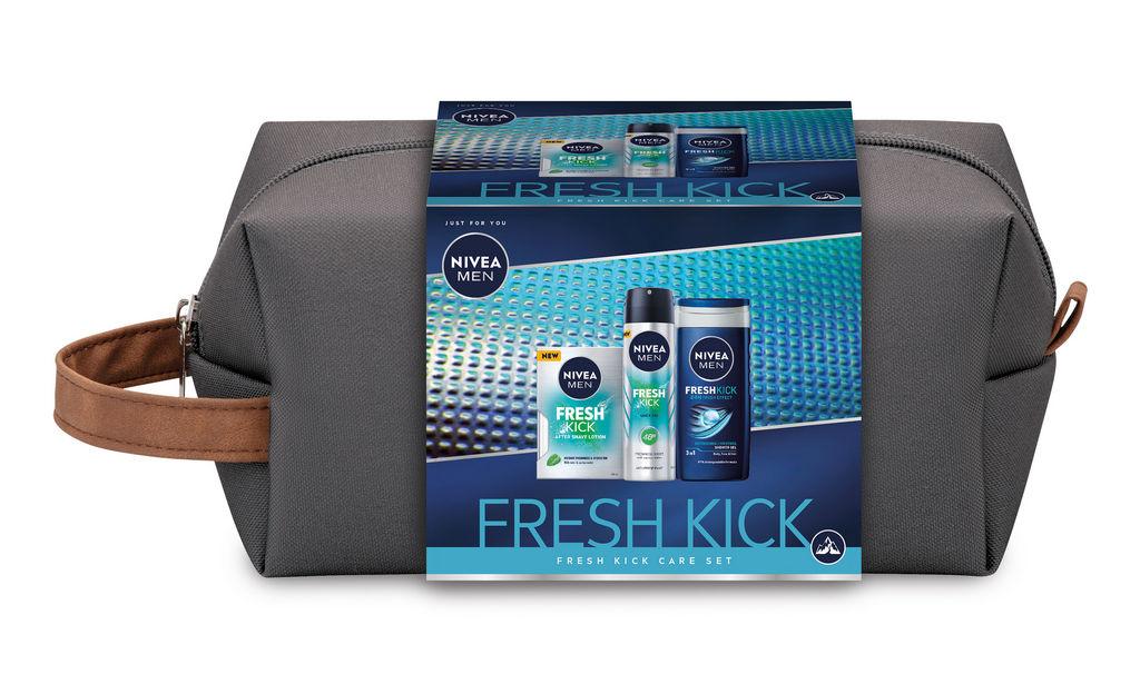Darilni set Nivea Men, Fresh Kick, losjon + deo sprej + tuš gel + torbica