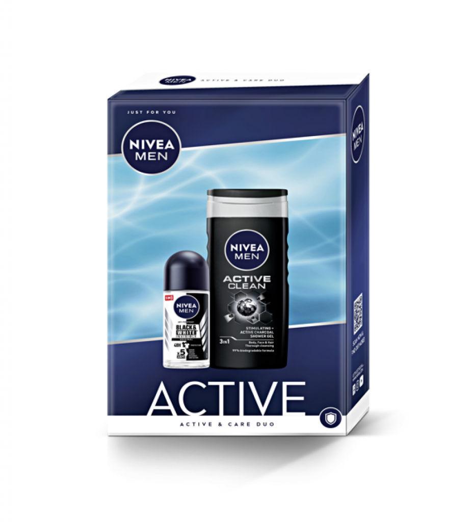 Darilni set Nivea Men, Active, roll-on 50 ml + tuš gel 250 ml