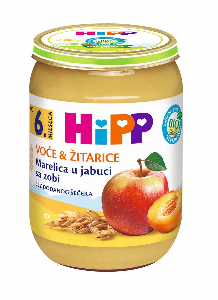Kašica Bio Hipp, marelica-jabolka z ovsom, 190 g