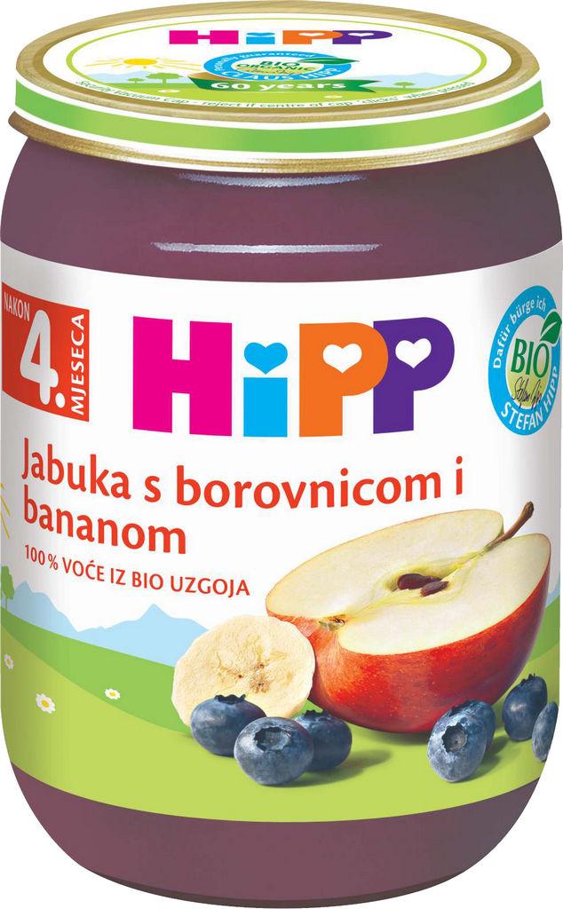 Kašica Bio Hipp, jabolko, borovnica, 190g
