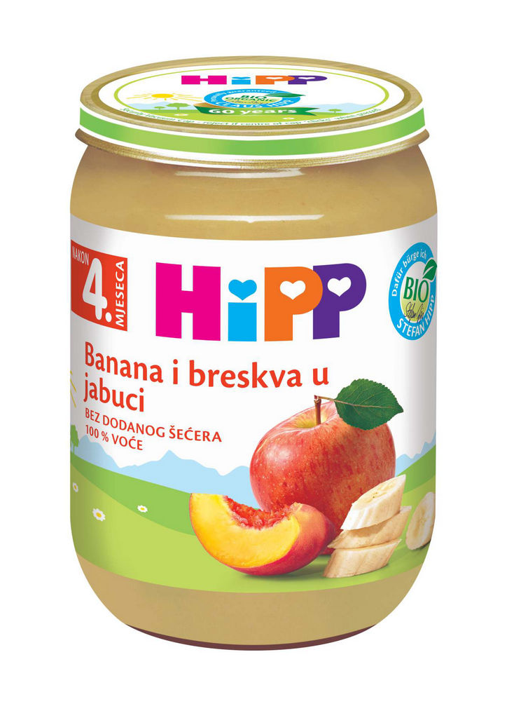 Kašica Bio Hipp, jabolko, banana, breskev, 190 g