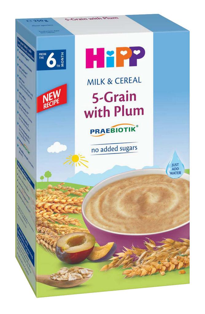 Kašica Hipp, mlečno, žitna, 5 žit, s slivo, 250 g